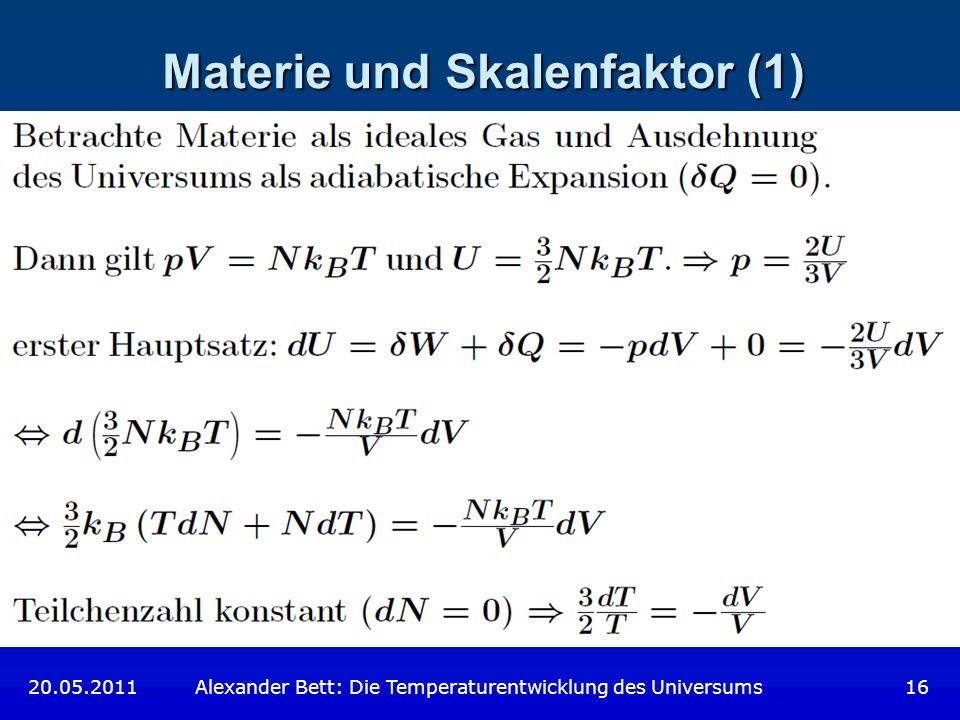 Materie und Skalenfaktor (1)