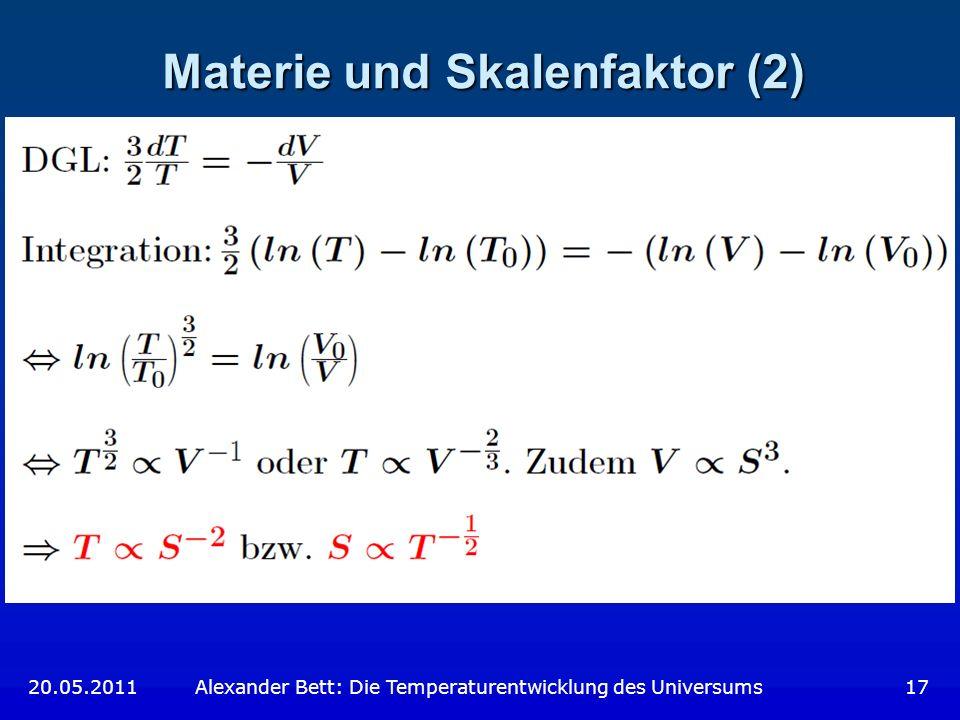 Materie und Skalenfaktor (2)