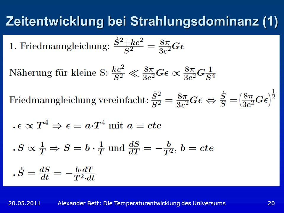 Zeitentwicklung bei Strahlungsdominanz (1)