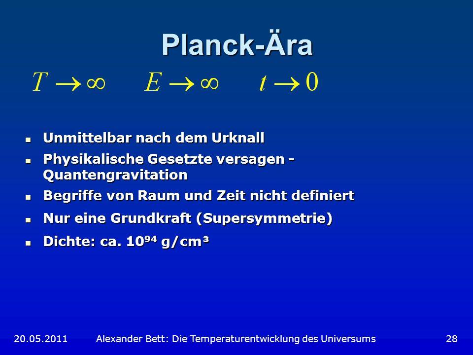 Planck-Ära Unmittelbar nach dem Urknall