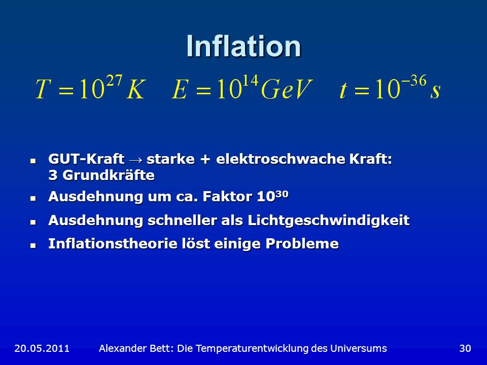 Inflation GUT-Kraft → starke + elektroschwache Kraft: 3 Grundkräfte