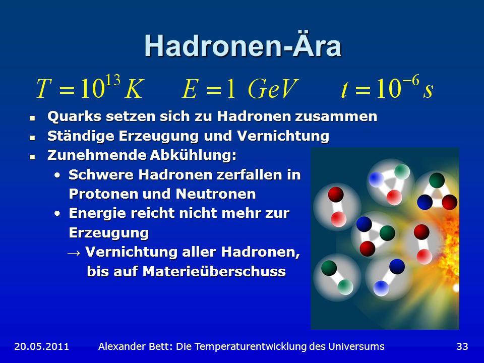 Hadronen-Ära Quarks setzen sich zu Hadronen zusammen