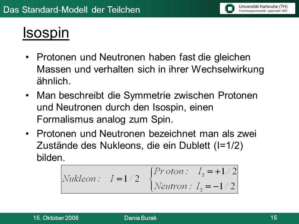 Isospin Protonen und Neutronen haben fast die gleichen Massen und verhalten sich in ihrer Wechselwirkung ähnlich.