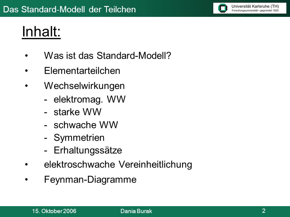 Inhalt: Was ist das Standard-Modell Elementarteilchen