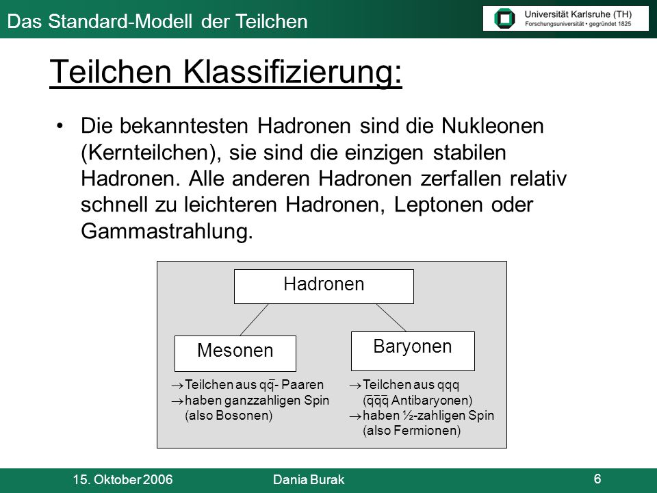 Teilchen Klassifizierung: