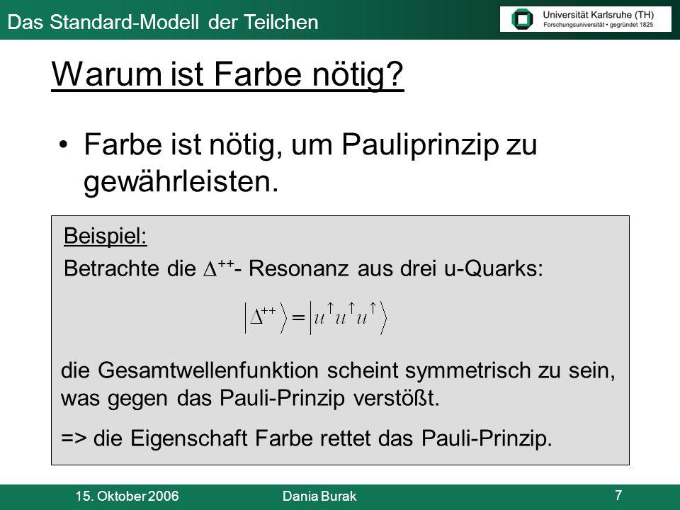 Warum ist Farbe nötig Farbe ist nötig, um Pauliprinzip zu gewährleisten. Beispiel: Betrachte die ++- Resonanz aus drei u-Quarks: