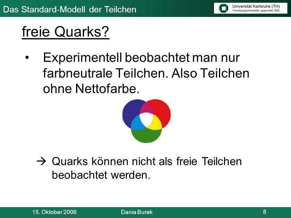 freie Quarks Experimentell beobachtet man nur farbneutrale Teilchen. Also Teilchen ohne Nettofarbe.
