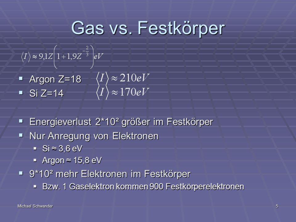 Gas vs. Festkörper Argon Z=18 Si Z=14