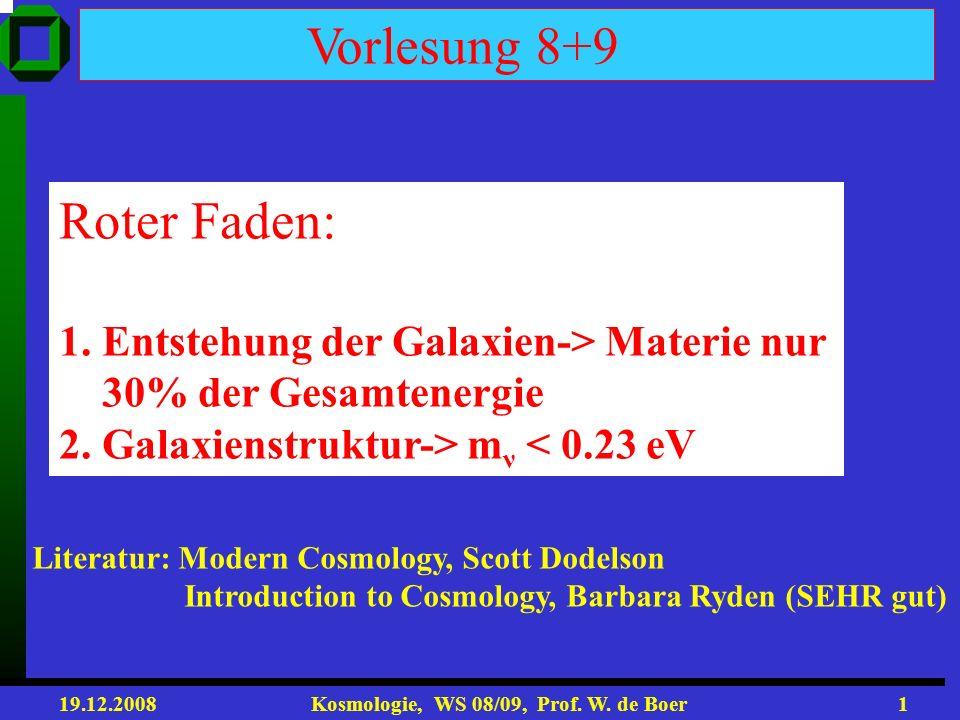 Vorlesung 8+9 Roter Faden: 1. Entstehung der Galaxien-> Materie nur