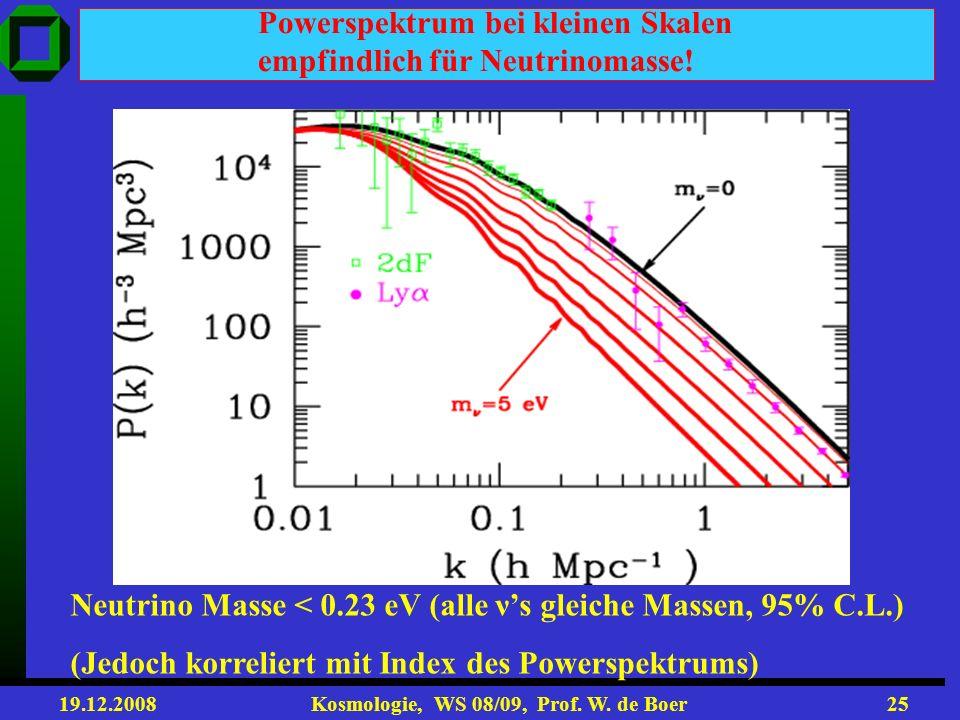 Powerspektrum bei kleinen Skalen empfindlich für Neutrinomasse!