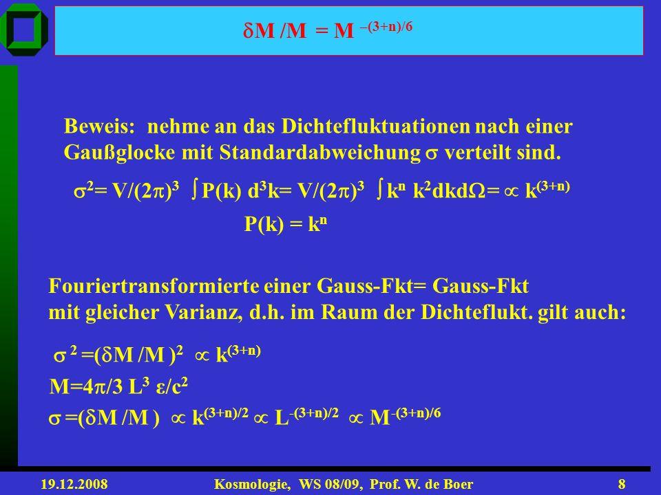M /M = M –(3+n)/6 Beweis: nehme an das Dichtefluktuationen nach einer. Gaußglocke mit Standardabweichung  verteilt sind.
