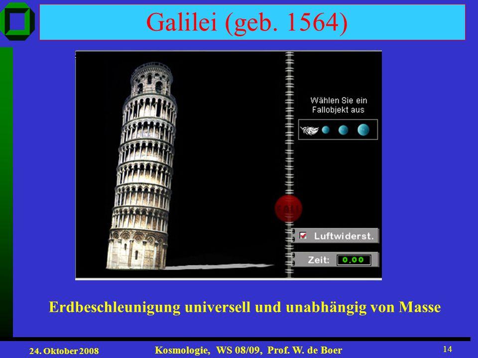 Galilei (geb. 1564) Erdbeschleunigung universell und unabhängig von Masse