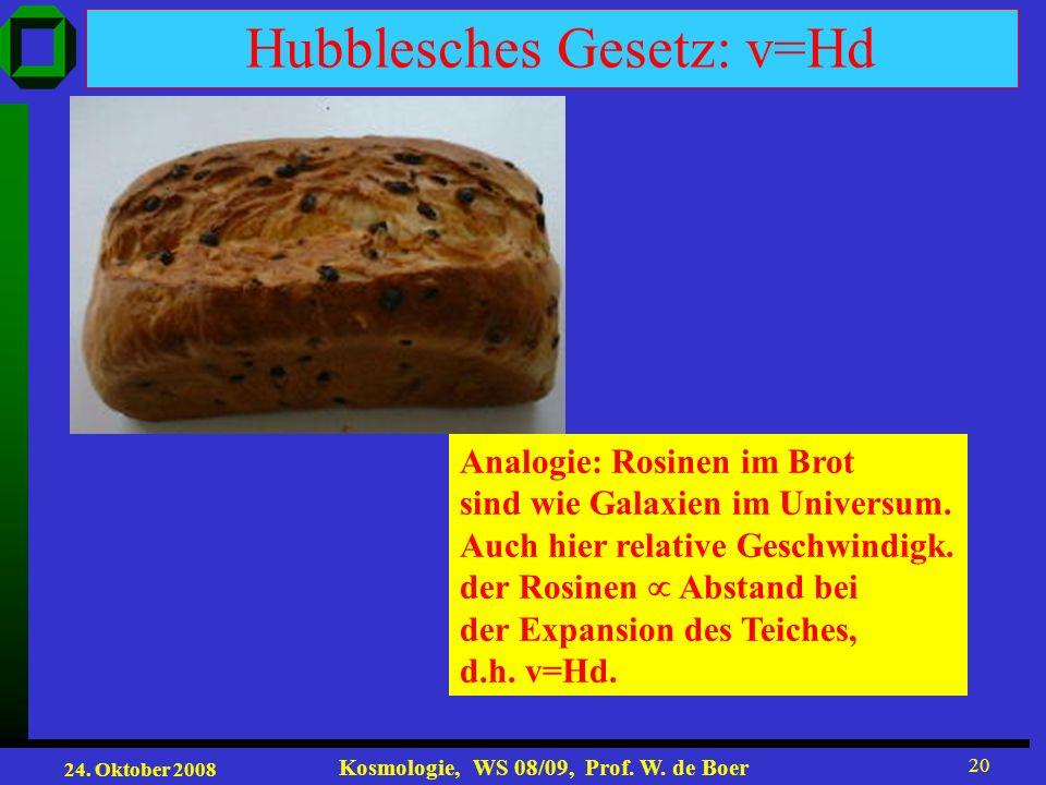 Hubblesches Gesetz: v=Hd