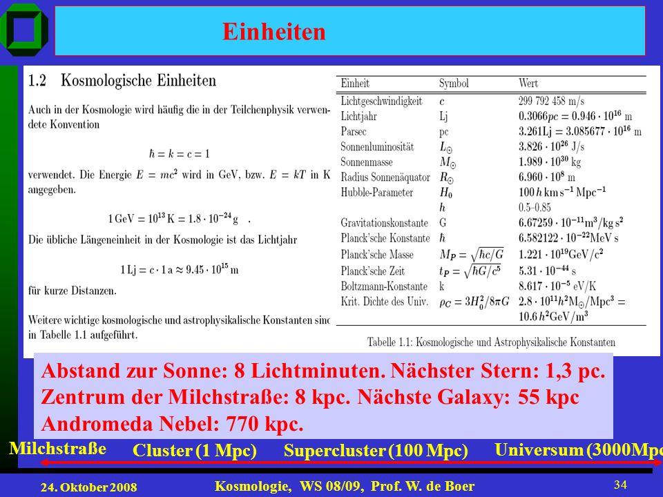 Einheiten Abstand zur Sonne: 8 Lichtminuten. Nächster Stern: 1,3 pc.