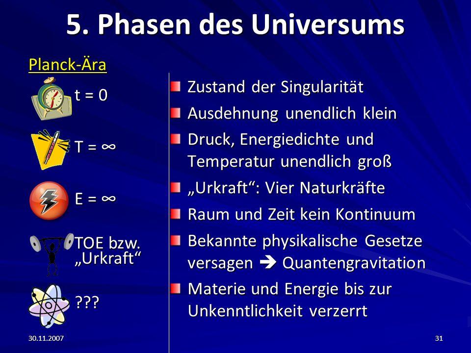 5. Phasen des Universums t = 0 Planck-Ära T = ∞