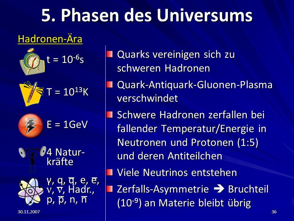5. Phasen des Universums t = 10-6s Hadronen-Ära T = 1013K