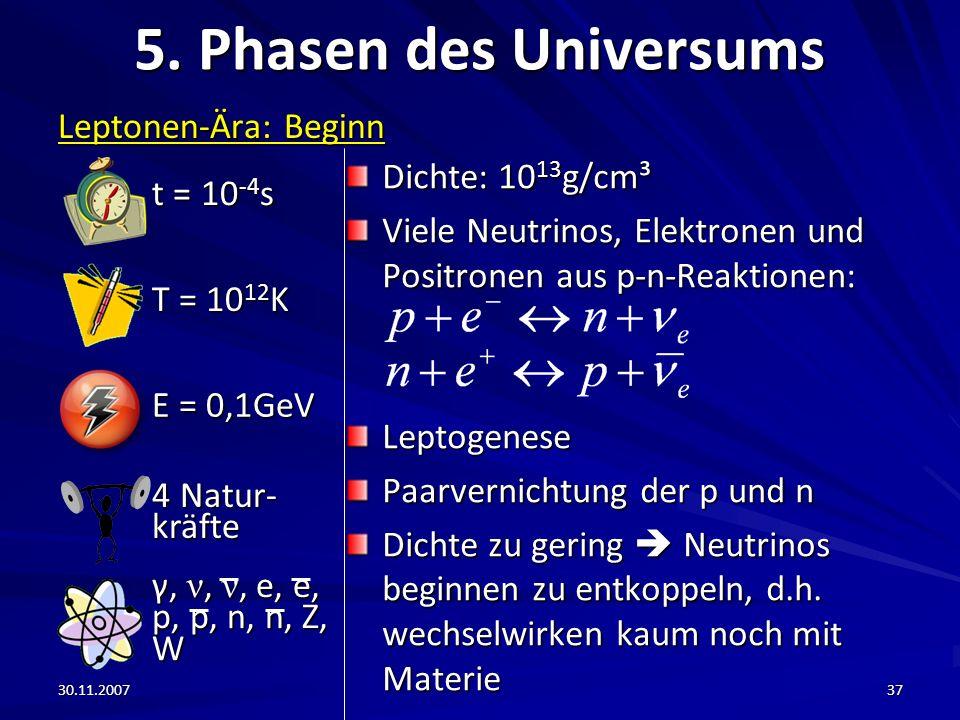 5. Phasen des Universums t = 10-4s Leptonen-Ära: Beginn T = 1012K