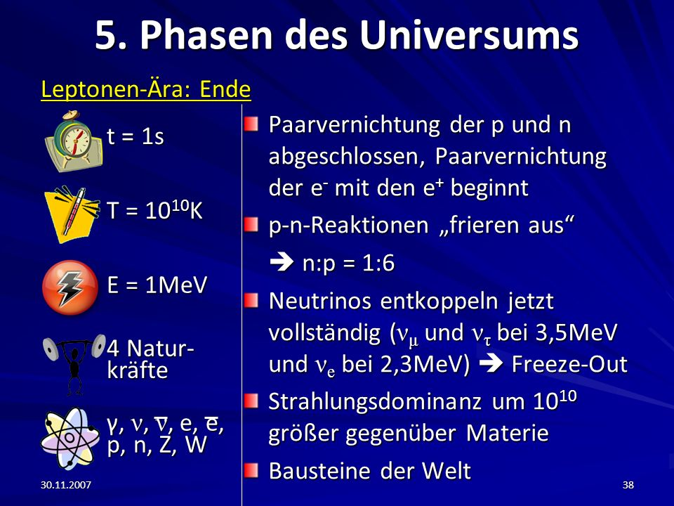 5. Phasen des Universums Leptonen-Ära: Ende t = 1s T = 1010K E = 1MeV