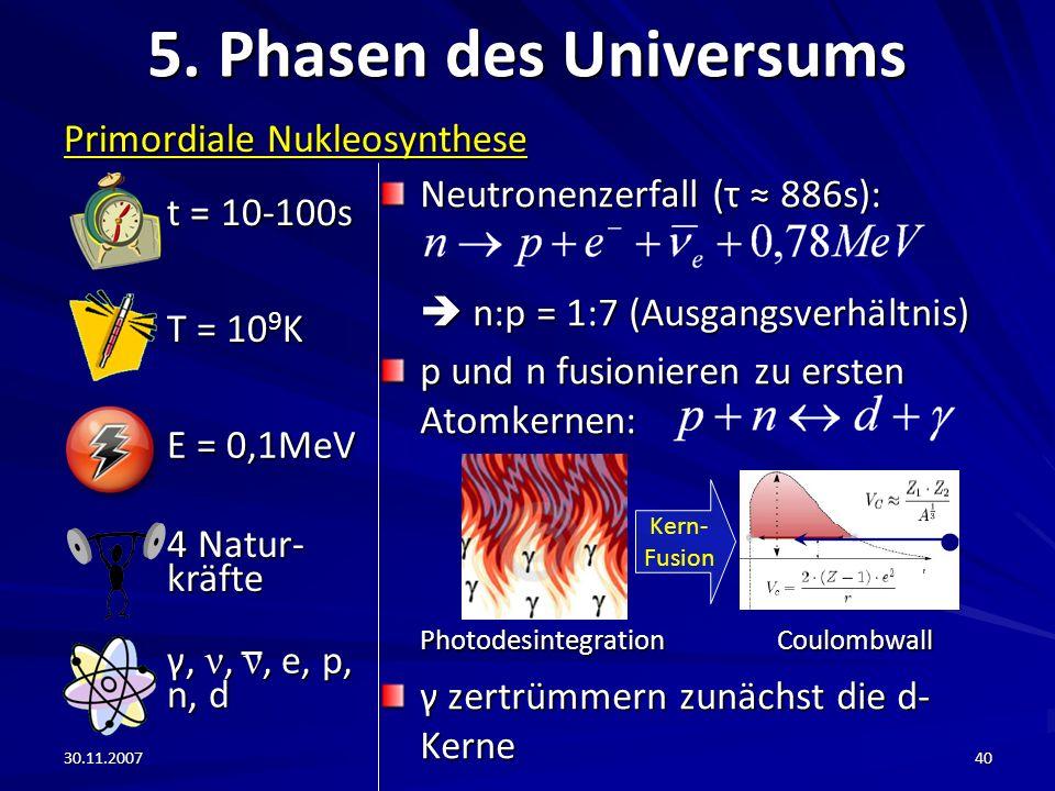 5. Phasen des Universums t = 10-100s Primordiale Nukleosynthese
