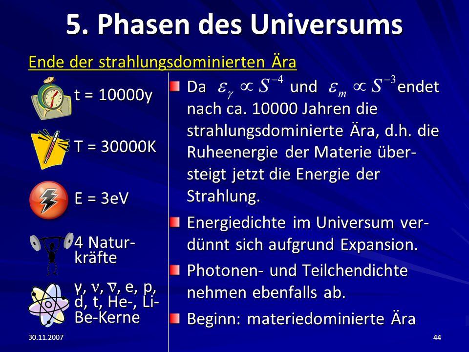 5. Phasen des Universums t = 10000y Ende der strahlungsdominierten Ära