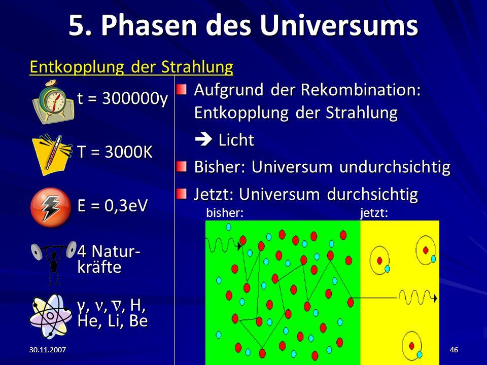 5. Phasen des Universums t = 300000y Entkopplung der Strahlung