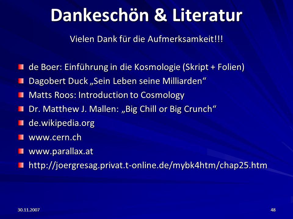 Dankeschön & Literatur