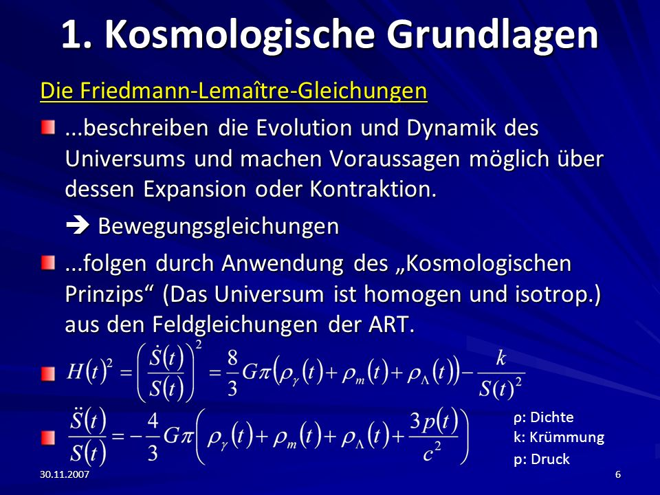 1. Kosmologische Grundlagen