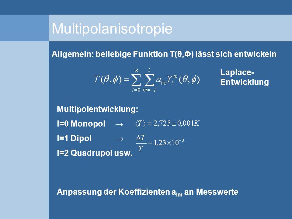 Multipolanisotropie Allgemein: beliebige Funktion T(θ,Φ) lässt sich entwickeln. Laplace-Entwicklung.