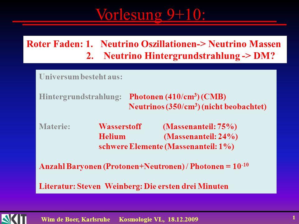 Vorlesung 9+10: Roter Faden: 1. Neutrino Oszillationen-> Neutrino Massen. 2. Neutrino Hintergrundstrahlung -> DM