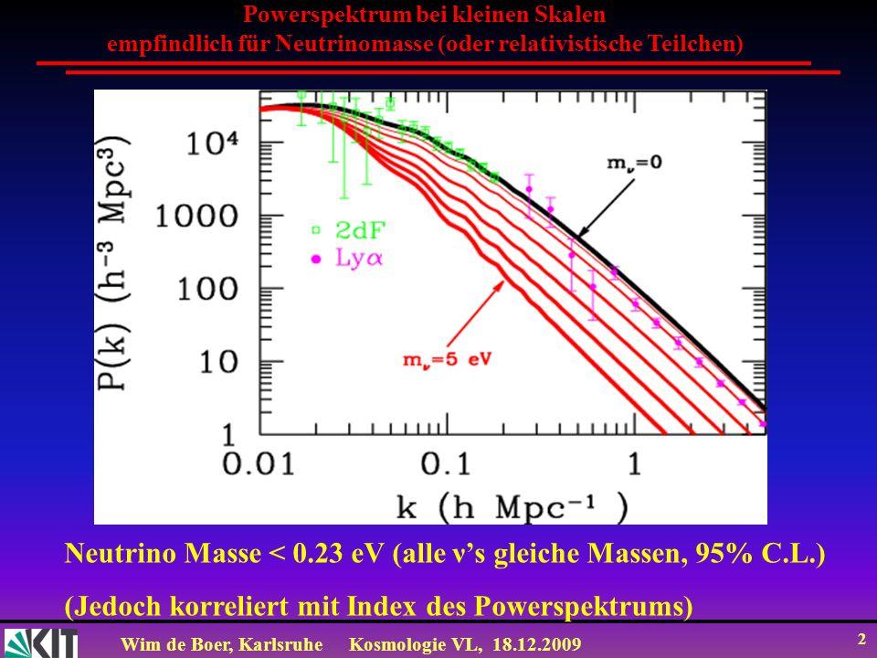 Neutrino Masse < 0.23 eV (alle ν's gleiche Massen, 95% C.L.)