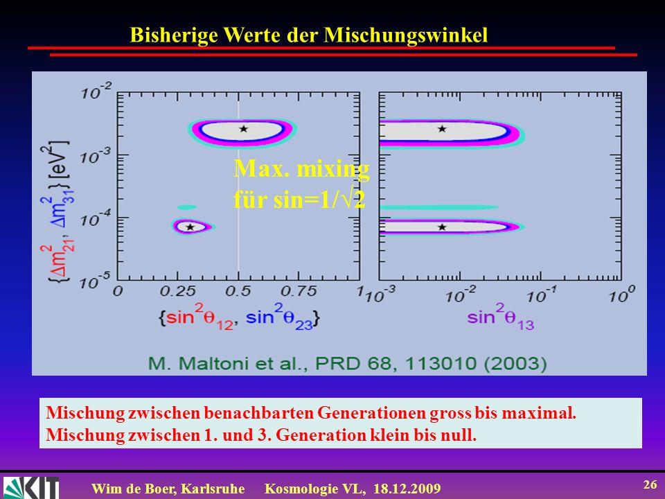 Max. mixing für sin=1/√2 Bisherige Werte der Mischungswinkel