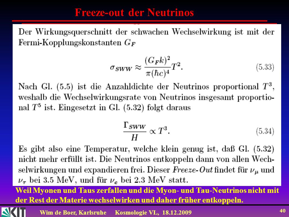 Freeze-out der Neutrinos