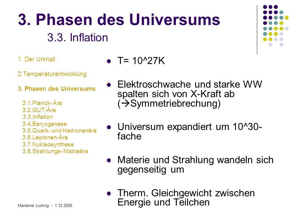 3. Phasen des Universums 3.3. Inflation