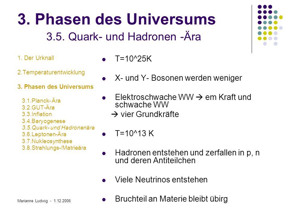 3. Phasen des Universums 3.5. Quark- und Hadronen -Ära