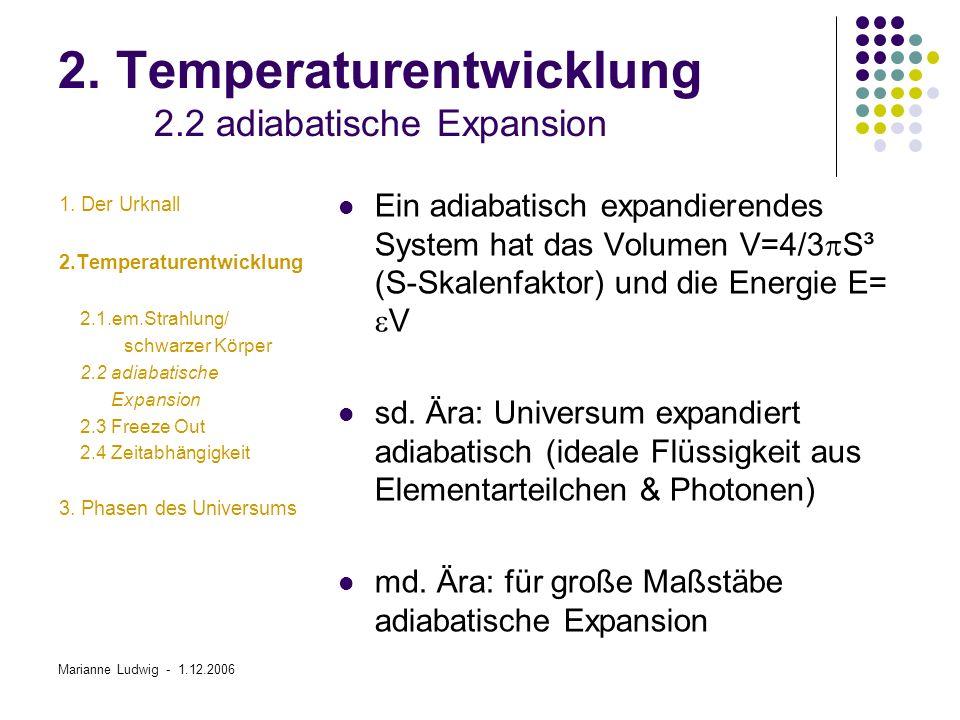 2. Temperaturentwicklung 2.2 adiabatische Expansion