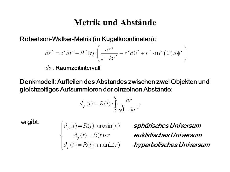 Metrik und Abstände Robertson-Walker-Metrik (in Kugelkoordinaten):