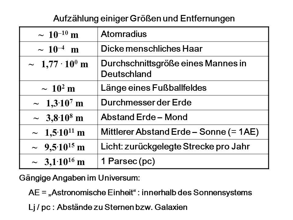 Aufzählung einiger Größen und Entfernungen