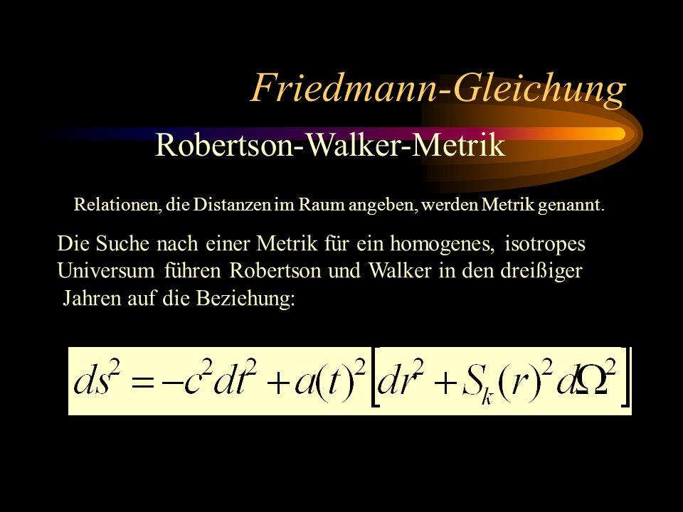 Friedmann-Gleichung Robertson-Walker-Metrik
