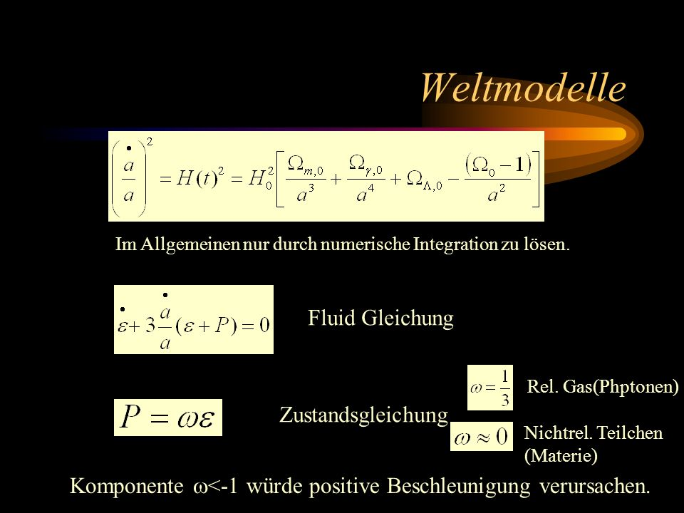 Weltmodelle Fluid Gleichung Zustandsgleichung