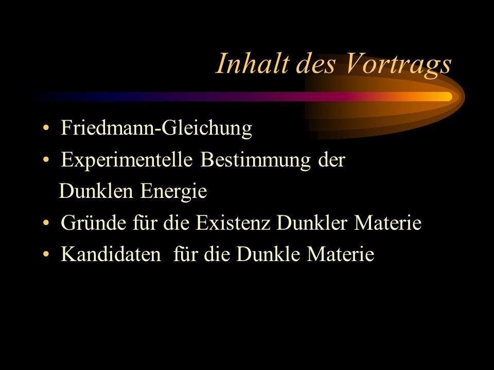 Inhalt des Vortrags Friedmann-Gleichung Experimentelle Bestimmung der