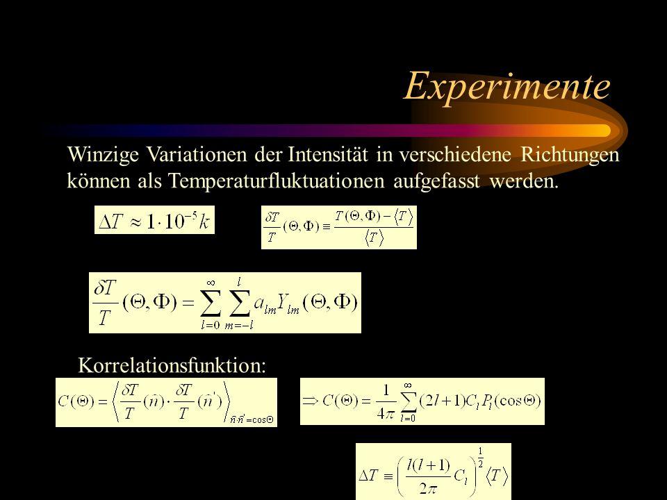 Experimente Winzige Variationen der Intensität in verschiedene Richtungen. können als Temperaturfluktuationen aufgefasst werden.