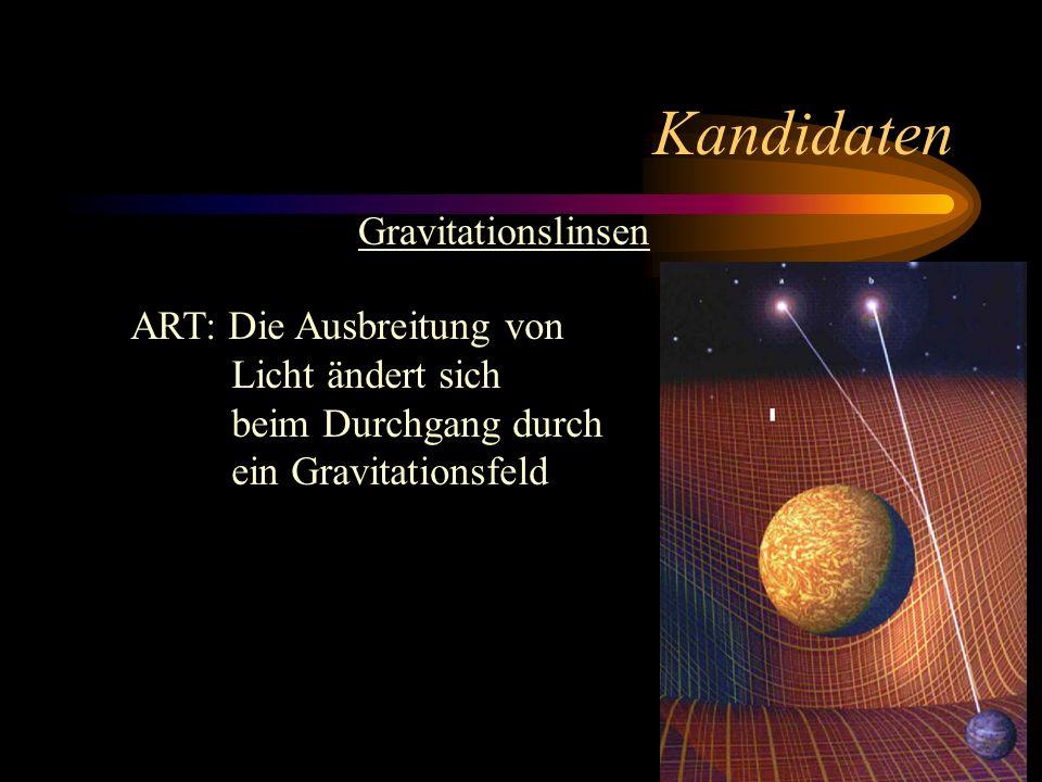Kandidaten Gravitationslinsen ART: Die Ausbreitung von