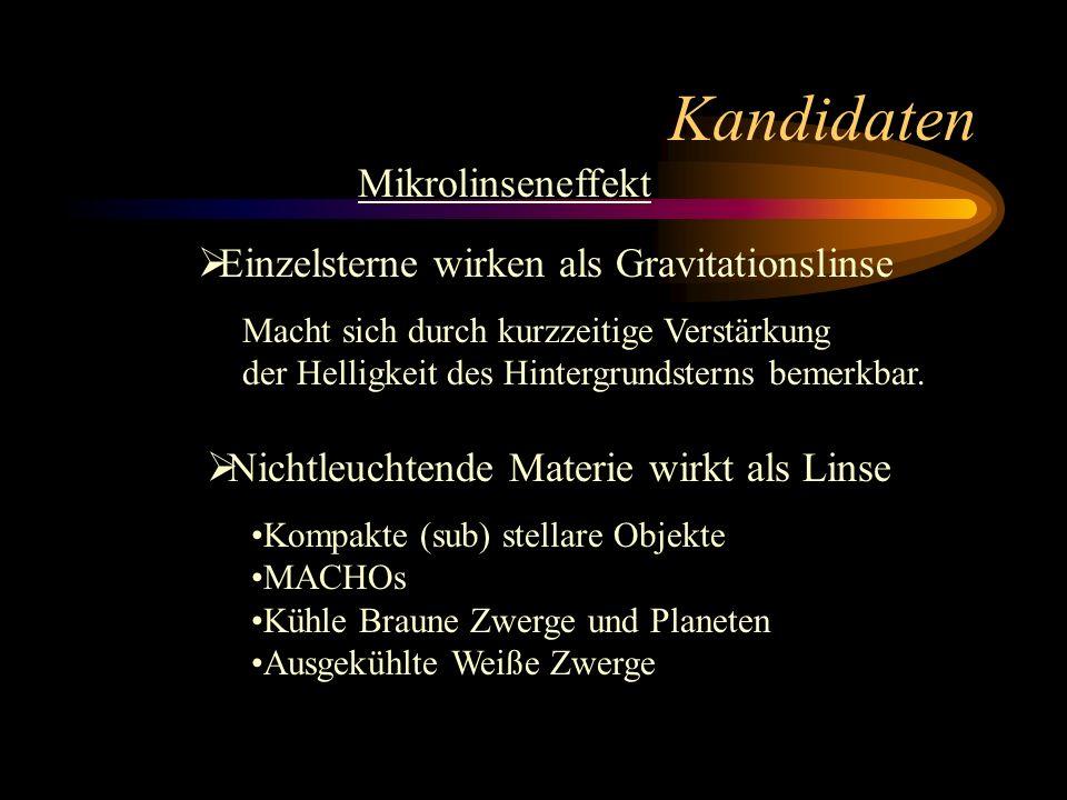 Kandidaten Mikrolinseneffekt Einzelsterne wirken als Gravitationslinse