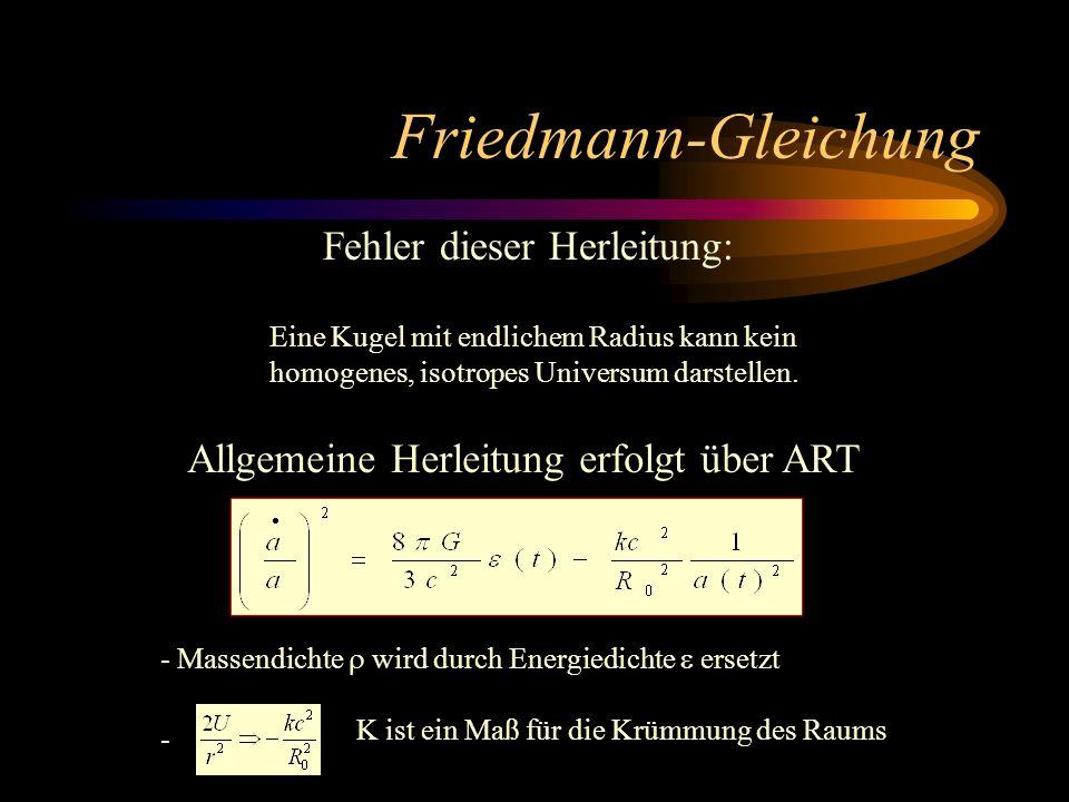 Friedmann-Gleichung Fehler dieser Herleitung:
