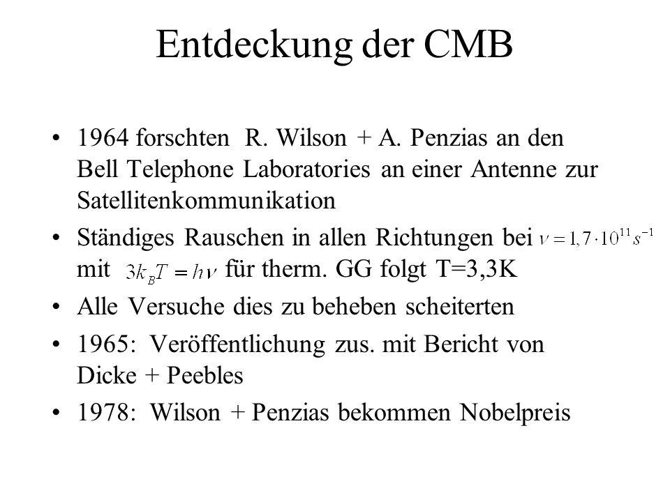 Entdeckung der CMB 1964 forschten R. Wilson + A. Penzias an den Bell Telephone Laboratories an einer Antenne zur Satellitenkommunikation.