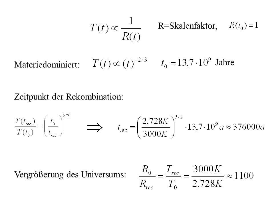 R=Skalenfaktor, Jahre Materiedominiert: Zeitpunkt der Rekombination: Vergrößerung des Universums: