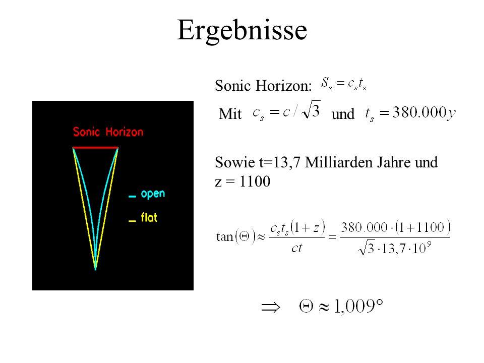 Ergebnisse Sonic Horizon: Mit und Sowie t=13,7 Milliarden Jahre und