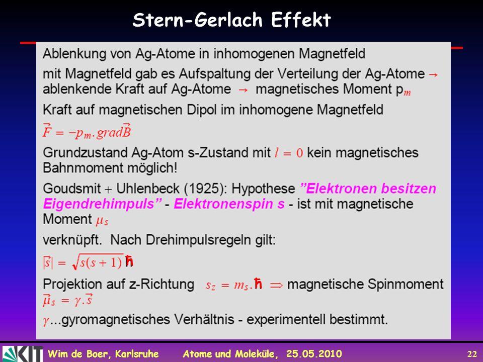 Stern-Gerlach Effekt ħ
