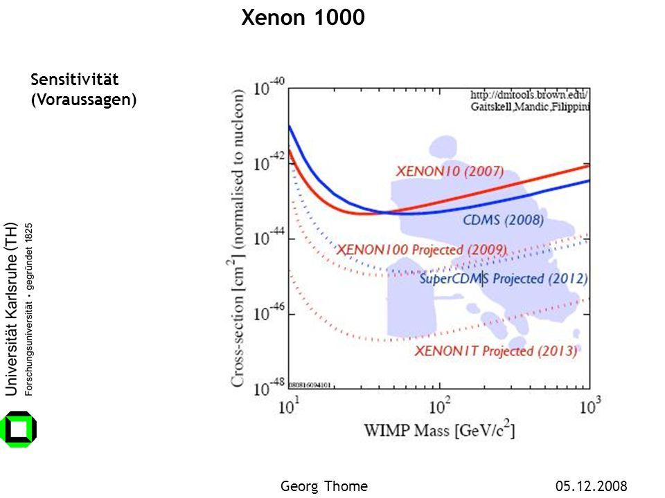 Xenon 1000 Sensitivität (Voraussagen) Georg Thome 05.12.2008