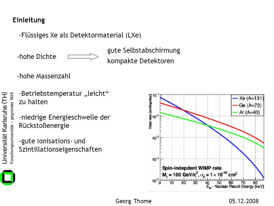 -Flüssiges Xe als Detektormaterial (LXe)